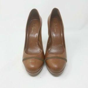 Cole Haan Brown Heels Shoes Zipper Leather Brown